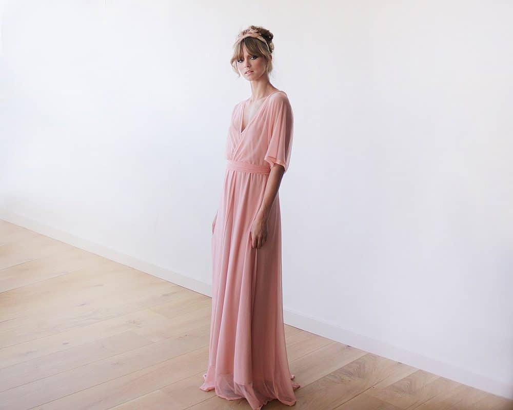 Pink Sheer Chiffon Bat-wing Maxi Dress