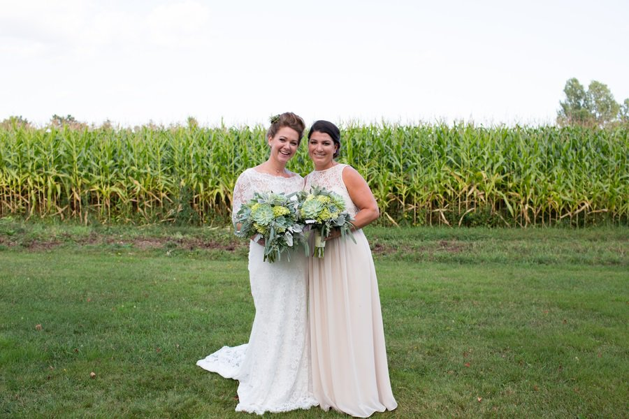 bride and bridesmaid shot
