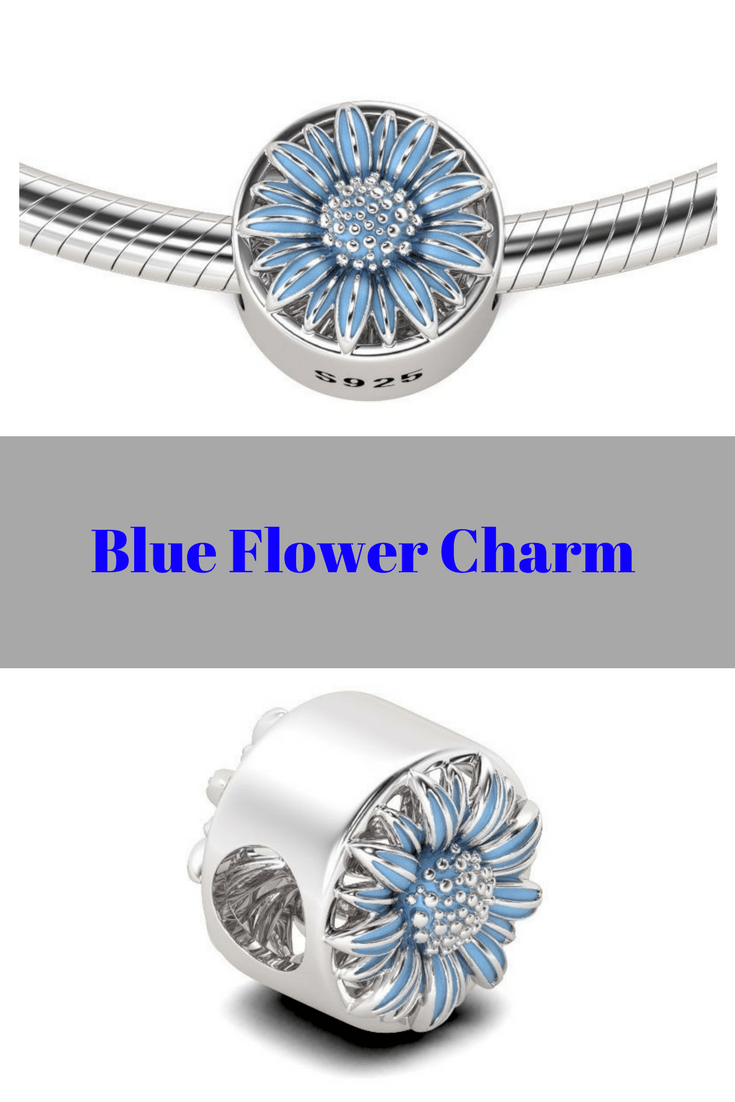 Blue Flower Charm Sterling Silver