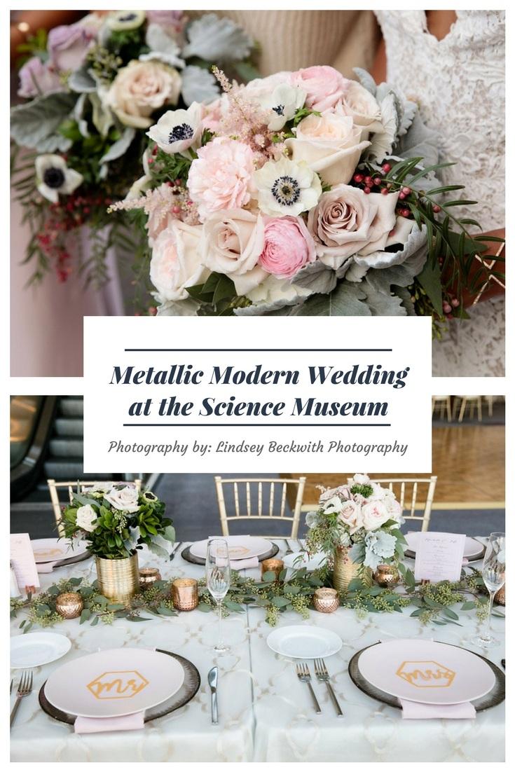 Metallic Modern Wedding at the Science Museum