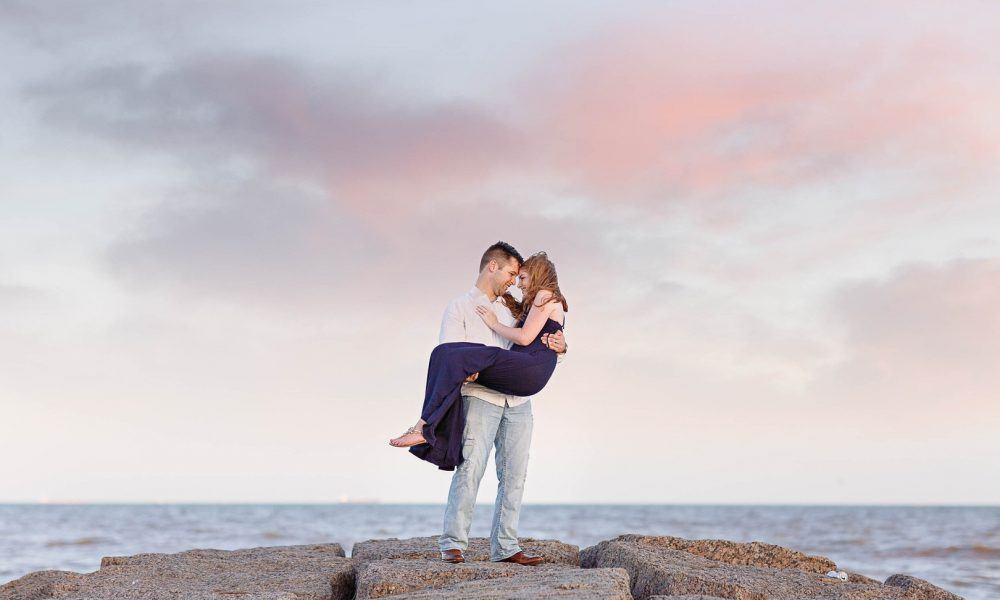 Romantic Engagement on Galveston Beach
