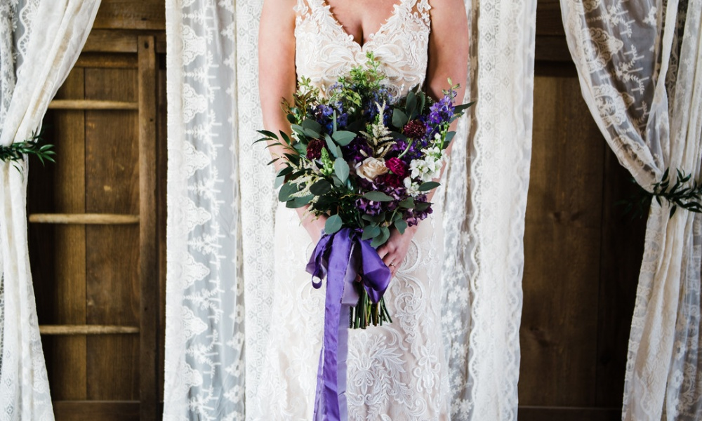 Purple Ribbons, White Lace, & A Beautiful Bride!