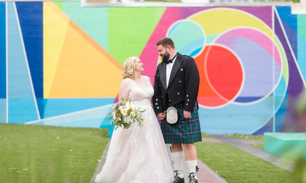 Blush Gown and Scottish Kilt with Colorful Mural Photos for A Modest Fall Wedding
