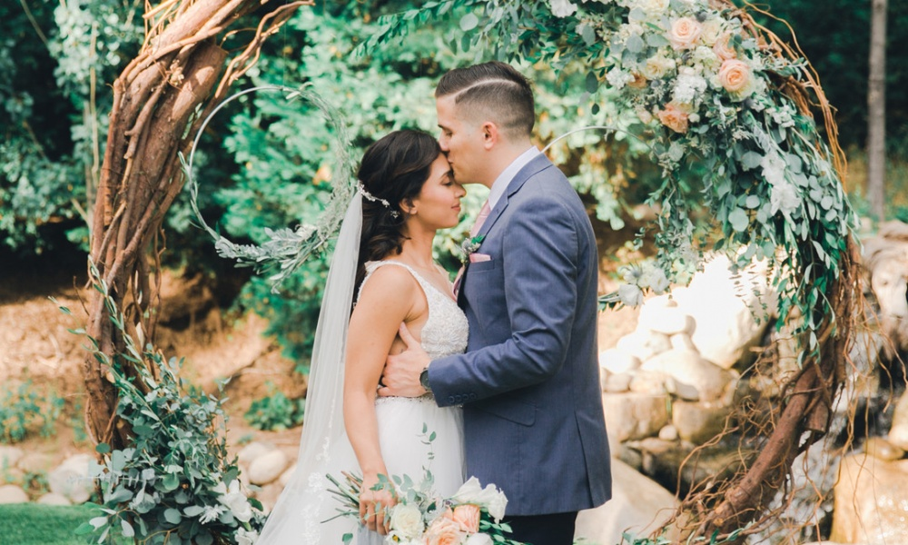 Soft Muted Tones, Lush Greenery And Pops Of Peach – The Color Palette Added Elegance In This Romantic Elopement Shoot